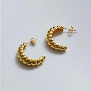 18k Large Croissant Dome Hoop Earrings